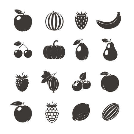 Fruits Black Icons. Different fruits icons on white background. Vector illustration Vettoriali