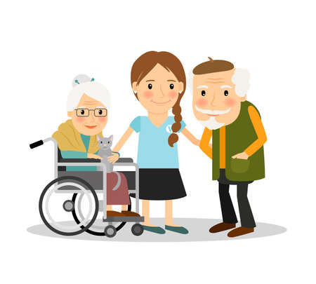 Caring for elderly patients. Young woman assisting elderly people. Vector illustration