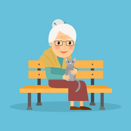 Old woman sitting on bench and holding cat. Vector illustration
