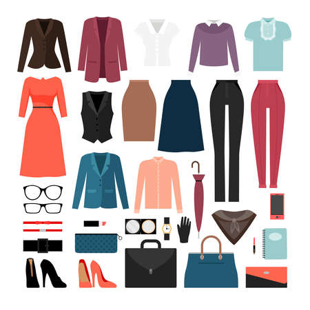 Businesswoman clothes and accessories or business ladies fashion vector Ilustracje wektorowe