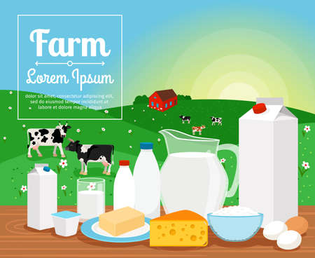 Milk farm dairy products on rural landscape with cows vector illustration