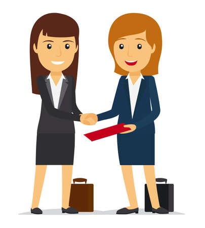 Business women shaking hands and smiling. Vector illustration