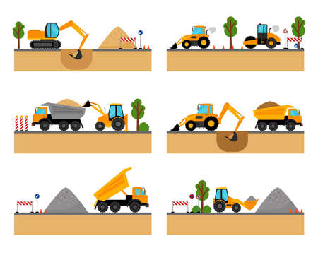 Building site machinery vector illustration. loader and excavator, digger and dumper