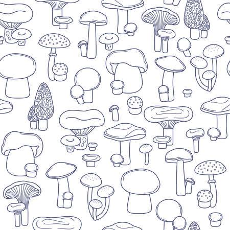 Vector seamless line blue mushrooms on white background pattern