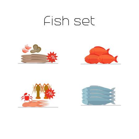 Foods market fish flat icons set. Vector illustration
