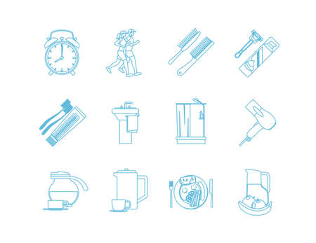 Good Morning Time Line Art Icons. Jogging and shower,breakfast and makeup. Vector illustration