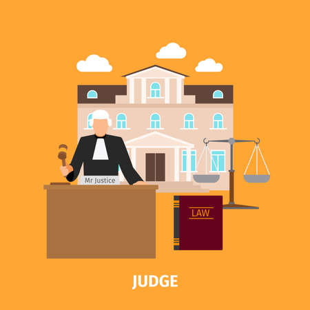 Law concept with judge and court building. Vector illustration