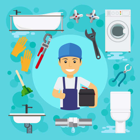 Sanitary engineering. Plumber at plumbing work with water drain vector illustration Vetores