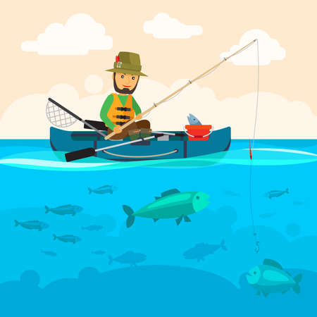 Fisherman on a boat vector illustration. Man fishing at river, a lot of fish in water and clouds in sky Vecteurs