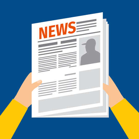 Man reading newspaper. News paper with hands in flat style vector illustration