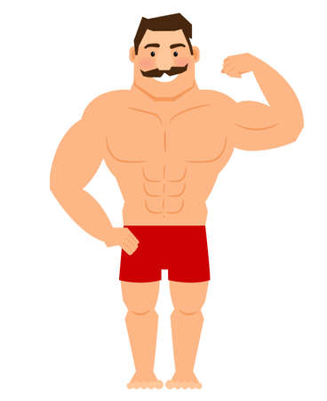 Beautiful cartoon muscular man with mustache, athletic male body vector illustration Vettoriali