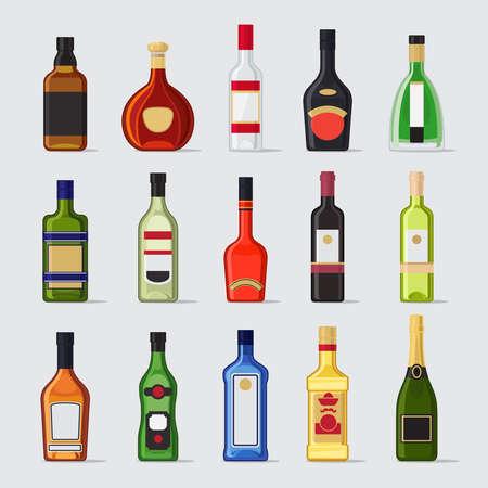 Alcohol in a bottle flat icons. Drinks bottles vector illustration