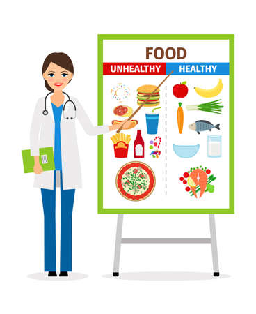 Nutritionist or dietician counselor doctor with diet and unhealthy food poster vector illustration Vektorové ilustrace
