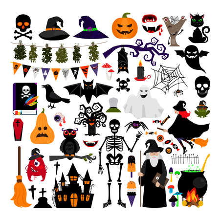 Halloween fashion flat icons isolated on white background. Halloween vector characters. Pumpkin and black cat, ghost and witch