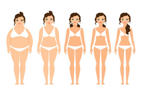 Cartoon woman before and after diet vector illustration Vettoriali