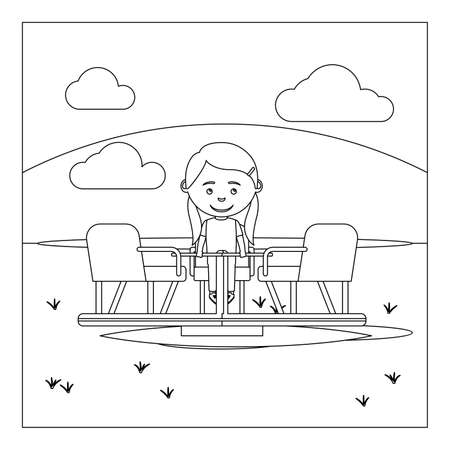 Coloring book page design with kid on playground. Vector illustration