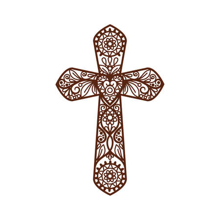 Ornate christian cross vector icon isolated on white