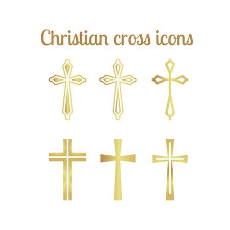 Golden christian cross icons isolated on white. Vector illustration