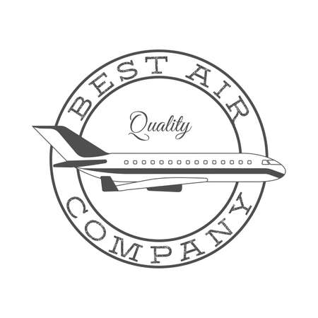Best air company retro label in circle shape with airplane vector illustration Vettoriali
