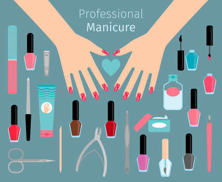 Professional Manicure accessories. Vector horizontal illustration with ladies hands and heart
