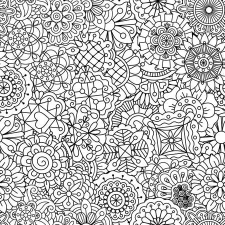 Outlined background design of seamless ornate textile pattern with heart and pinwheel lines and shapes