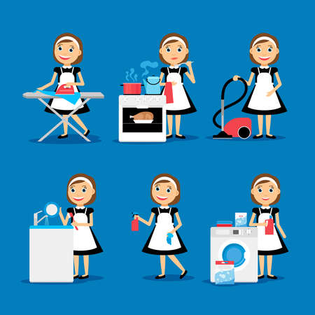 Multitasking housewife Vector illustration. Housekeeper woman ironing, cleaning, cooking and washing Vettoriali
