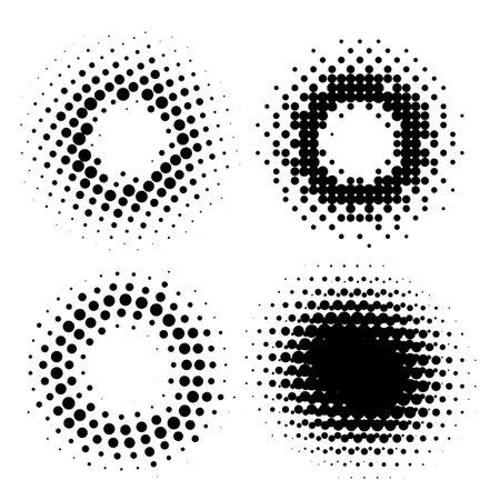 Abstract Halftone Circular Radial Design Elements