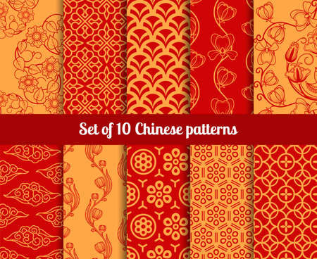 Chinese vector seamless patterns. Endless textures for wallpapers
