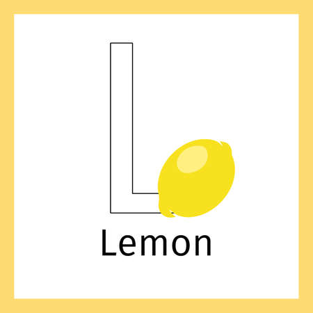 Kids education card with lemon fruit and outline letter L for coloring, vector illustration