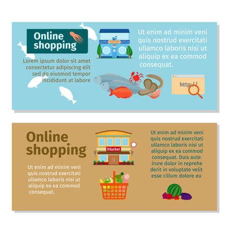 Online shopping grocery and seafood horizontal flyers design. Vector illustration Vektoros illusztráció