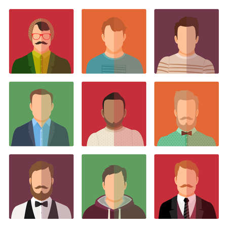 Vector male avatar icons set in official, sport and casual style