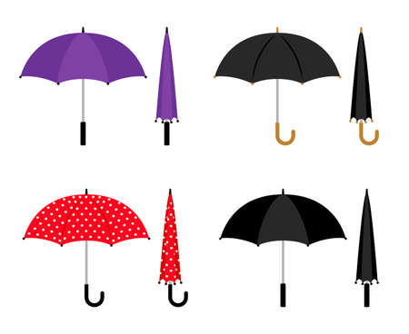 Umbrellas folded and opened collection. Black, red and violet parasol vector icons isolated on white background Vetores