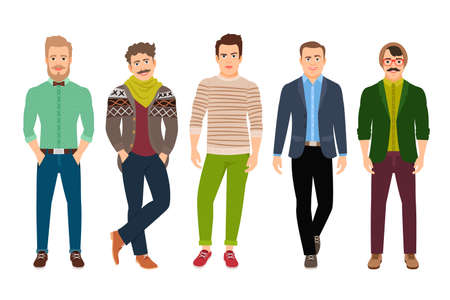 Vector confident fashion man in casual clothes isolated on white background Vecteurs