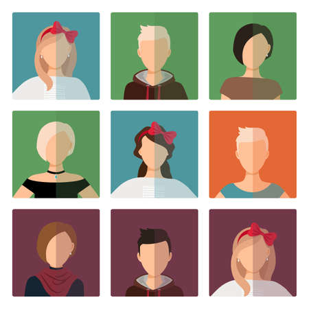 Vector short hairstyles female colorful avatar icons set
