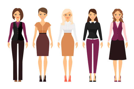 Women in office dress code in violet and beige colors on white background. Vector illustration Vettoriali