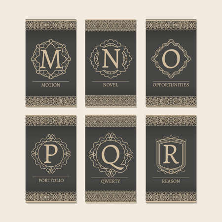 Cards set with monogram logos and borders. Letters MR vector illustration