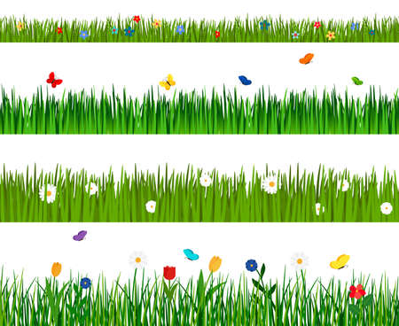 Spring green grass and flowers horizontal seamless pattern isolated on white background with flowers and butterflies icons Vettoriali
