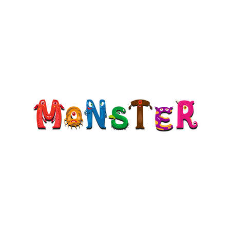 Print design for textile with Monsters letter and word Monster isolated on white. Vector illustration