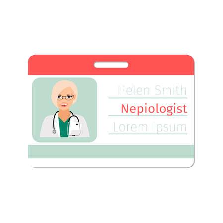 Nepiologist medical specialist badge template for game design or medicine industry. Vector illustration Vecteurs