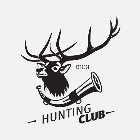 Vintage style vector hunting club with wild deer and horn on white background