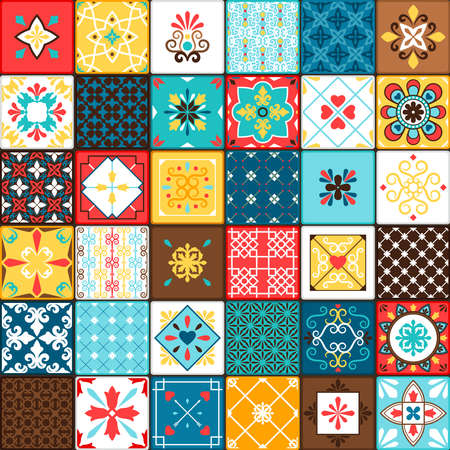 Ceramic tiles vector illustration. Oriental style vintage motif swatches