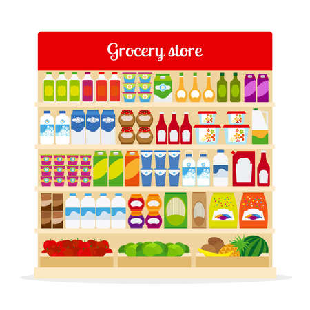 Grocery store vector illustration. Shop shelves with bottles and fruits, with milk, ketchup and pasta icons Ilustración de vector