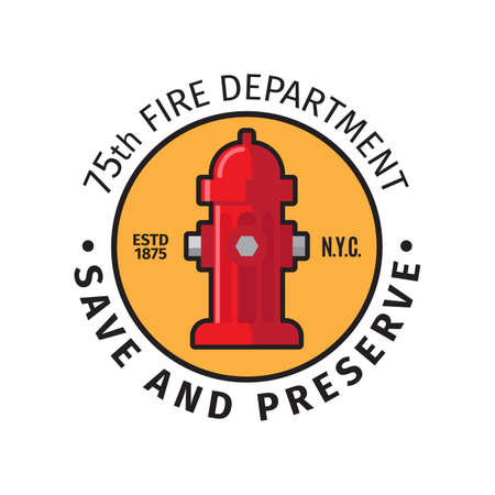 Fire department badge with save and preserve text. Vector illustration