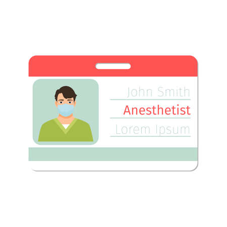 Anesthetist medical specialist badge template for game design or medicine industry. Vector illustration Vector Illustration