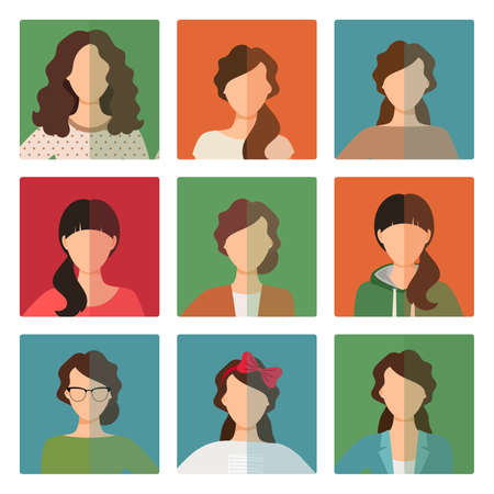 Vector female avatar icons set in casual style Vetores