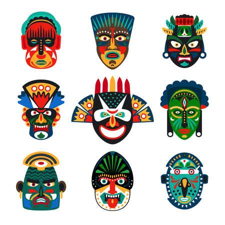 Tribal indian or african colorful masks set on white background. Vector illustration Vektorové ilustrace