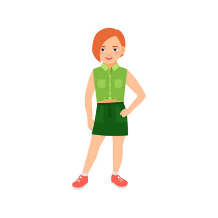 Happy relaxed redhead girl in green suit isolated vector illustration on white background