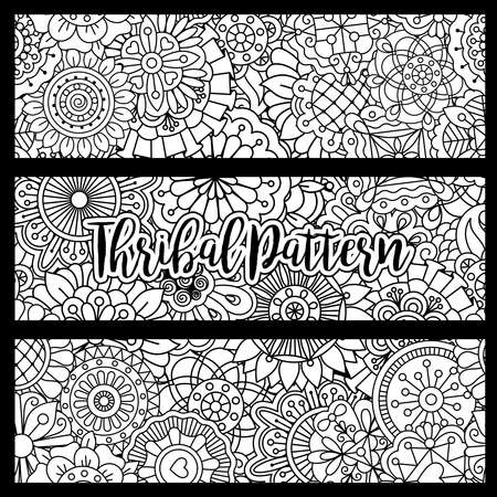 Horizontal flyers with black and white tribal pattern. Vector illustration Vector Illustration