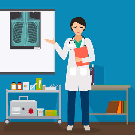Doctor woman with x-ray on stand vector illustration