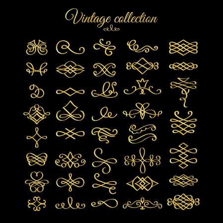 Vector golden calligraphic flourishes design elements for postcard, menu and wedding invitation Ilustração Vetorial